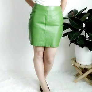80-90s Vintage Green Leather Mini Skirt